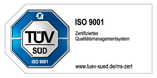 Zertifiziertes Qualitätsmanagements des TÜV Süd ISO 9001
